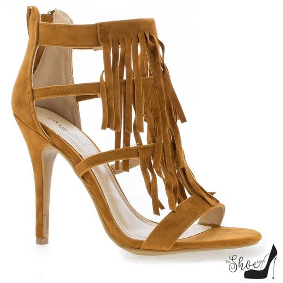 The Shoe Loft Shoes - Gigi Faux Suede Chestnut Fringe Strappy Heels